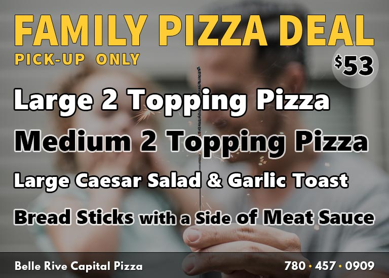 Family Pizza Deal: Large Pizza + Medium Pizza + Caesar Salad + Garlic Toast + Bread Sticks with Meat Sauce