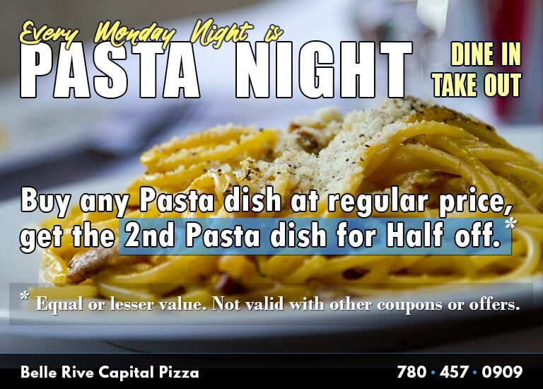 Monday is Pasta Night in Edmonton