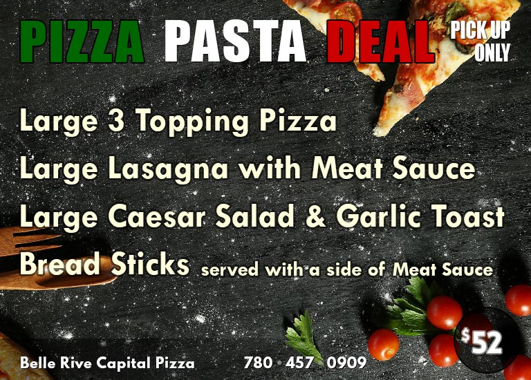 Pizza / Pasta Deal: Large Pizza + Large Lasagna + Large Caesar Salad + Garlic Toast + Bread Sticks with Meat Sauce