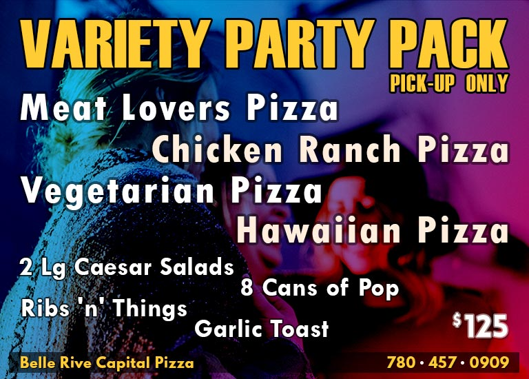 Variety Party Pack: 4 Medium Pizzas + 2 Large Salads + Ribs 'n' Things + Garlic Toast + 8 Cans of Pop